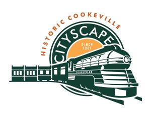 The Cityscape logo features a train engine and main street store fronts