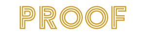 Proof logo in gold lettering