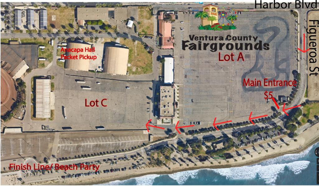 Mountains 2 Beach Marathon, Ventura, CA, Half Marathon, Parking Map, Ventura Fairgrounds, Sea Side Park