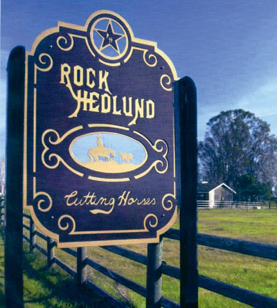 Rock Hedlund Cutting Horses Sign
