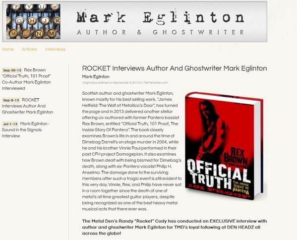 ROCKET Interviews Author And Ghostwriter Mark Eglinton