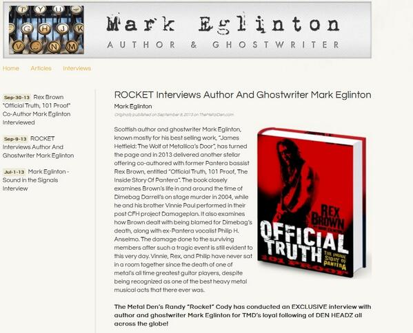 ROCKET Interviews Author And Ghostwriter Mark Eglinton