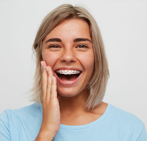 Girl With Braces Smiling