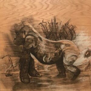 Gorilla: 2' x 2' Charcoal on Plywood