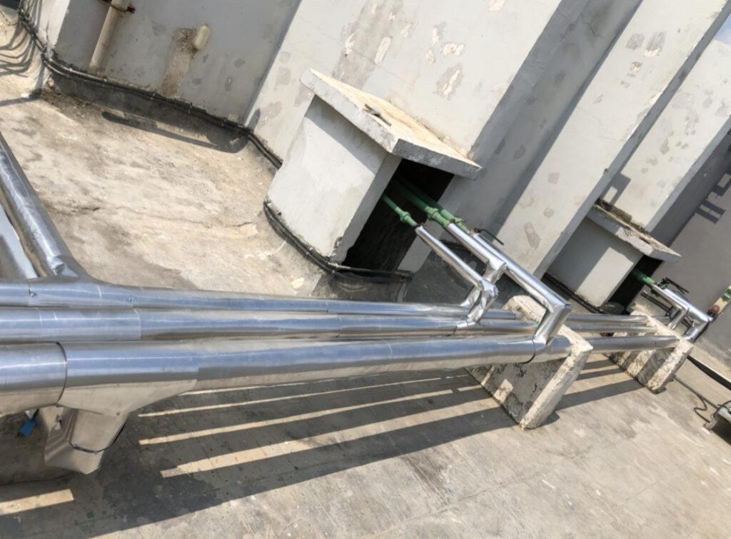 water pipeline insulation with aluminium cladding