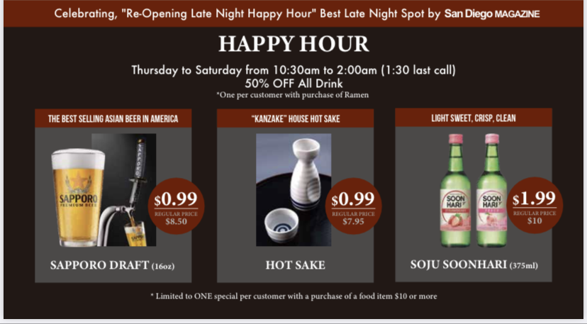 Join us for late-night Happy Hour till 2:00 am!