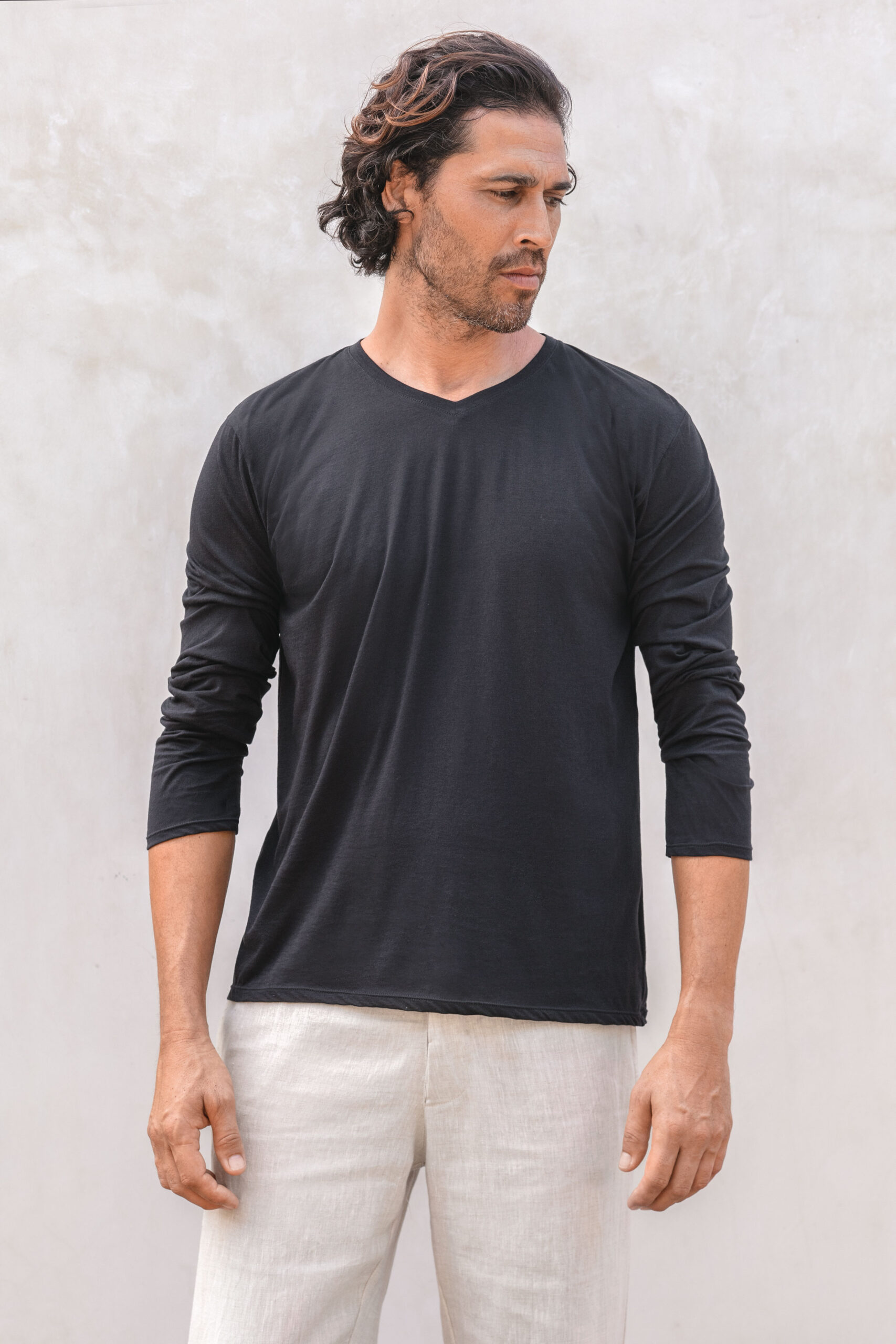 Muyal pima cotton vneck teeshirt