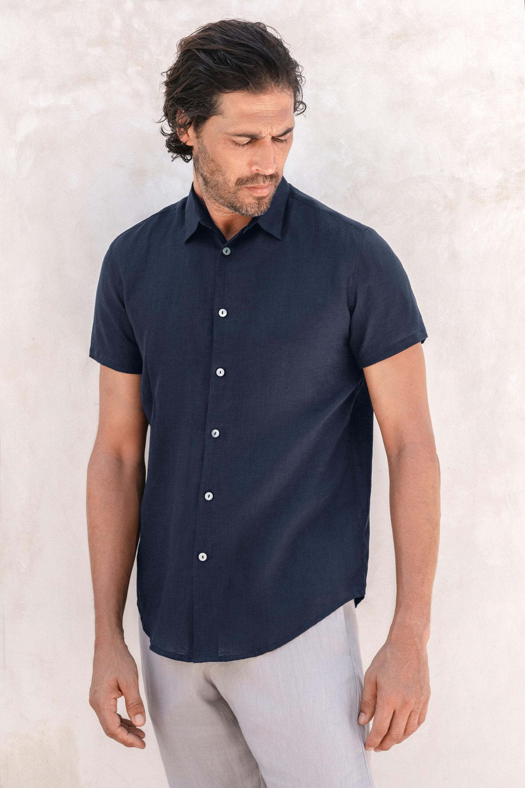 Moln linen shirt midnight navy