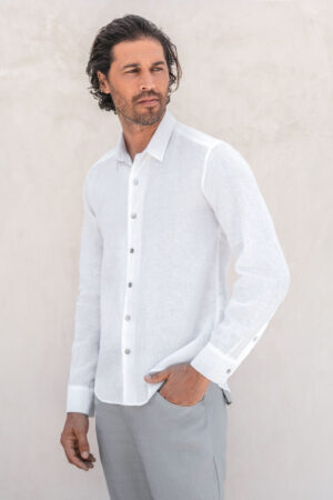 IAW classic bottom down linen shirts white