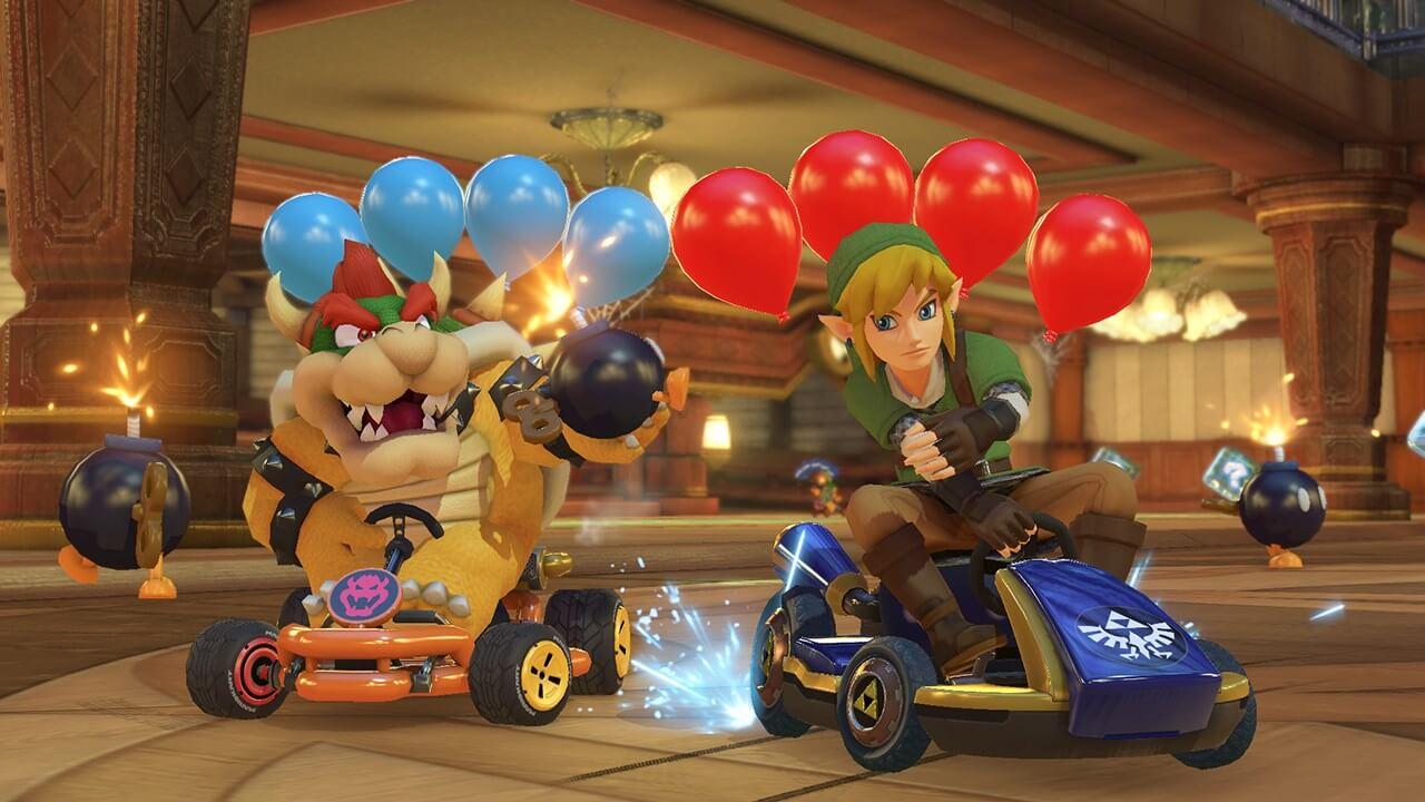 Mario Kart 8 Deluxe - Bowser y Link en modo batalla