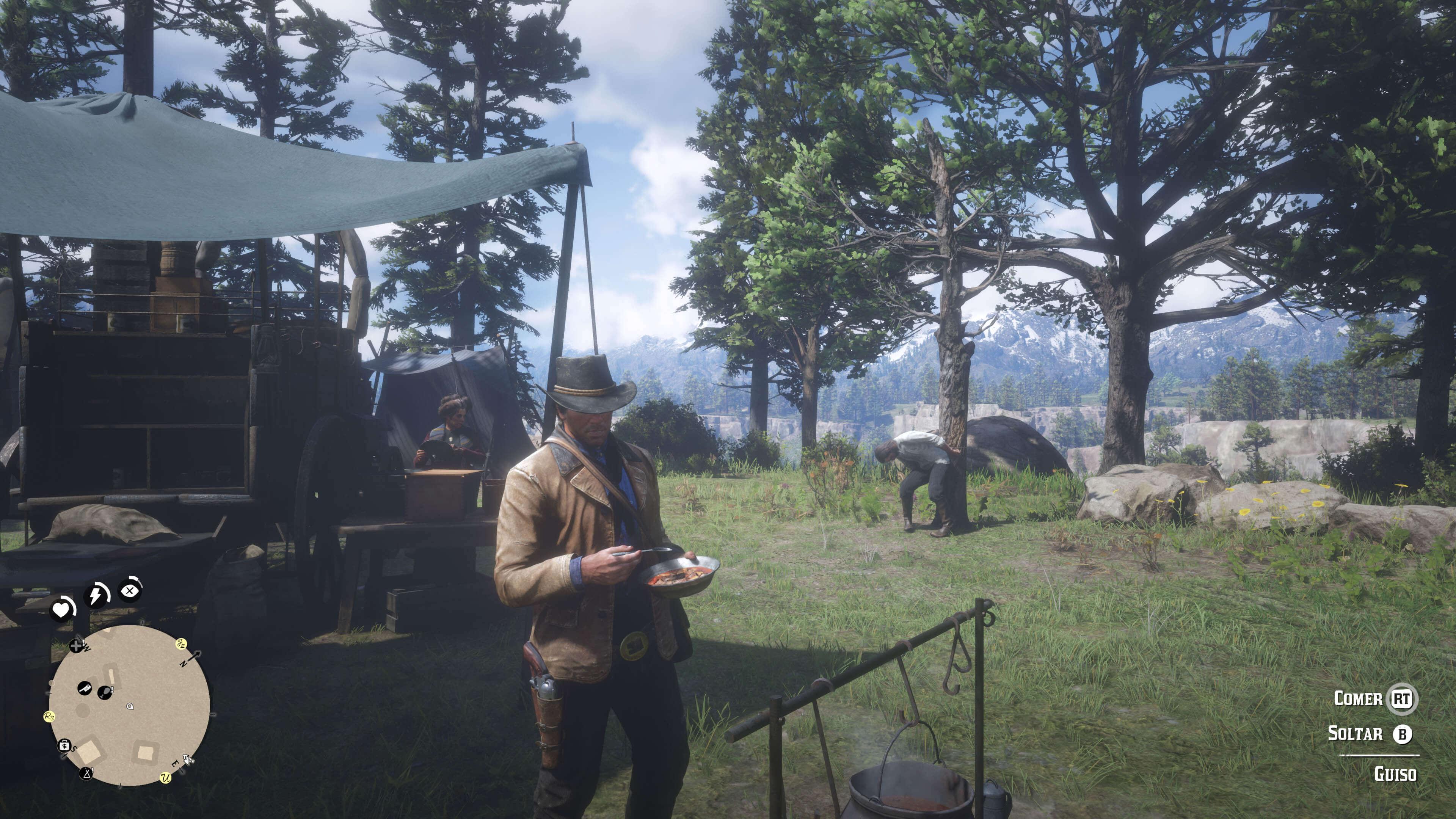 Red Dead Redemption 2_arthur comiendo o bebiendo café
