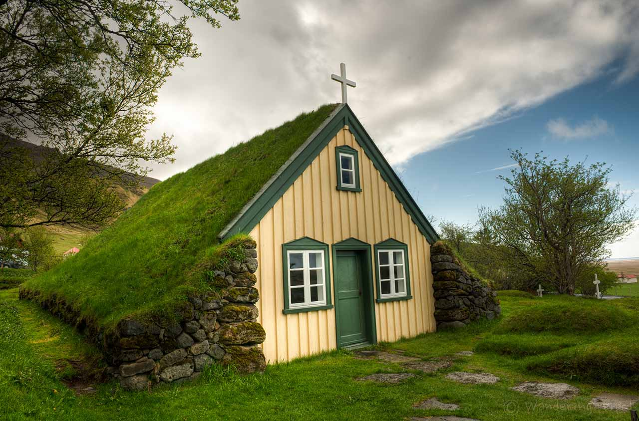 The Turf Church at Hof, South Iceland