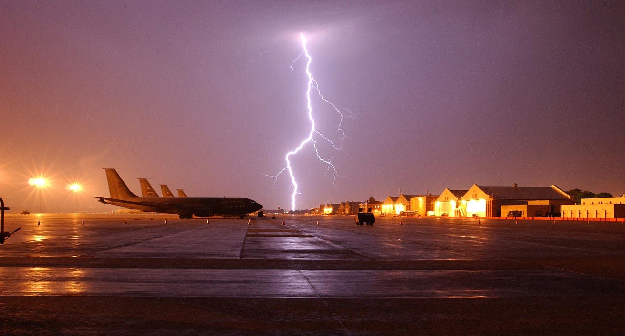 Airplane struck by lightning