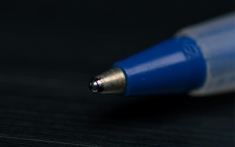 Ballpoint pen, pen, ink, blue