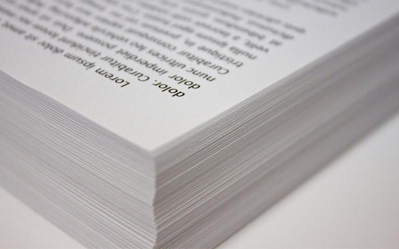 Printed paper, ink, white, black