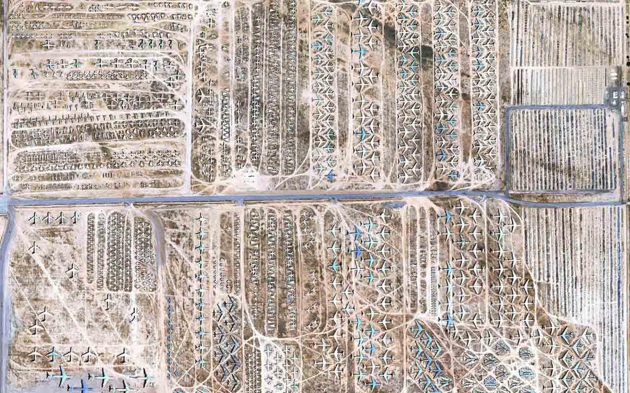 Airplane Boneyard, Arizona, desert, planes, airport, field