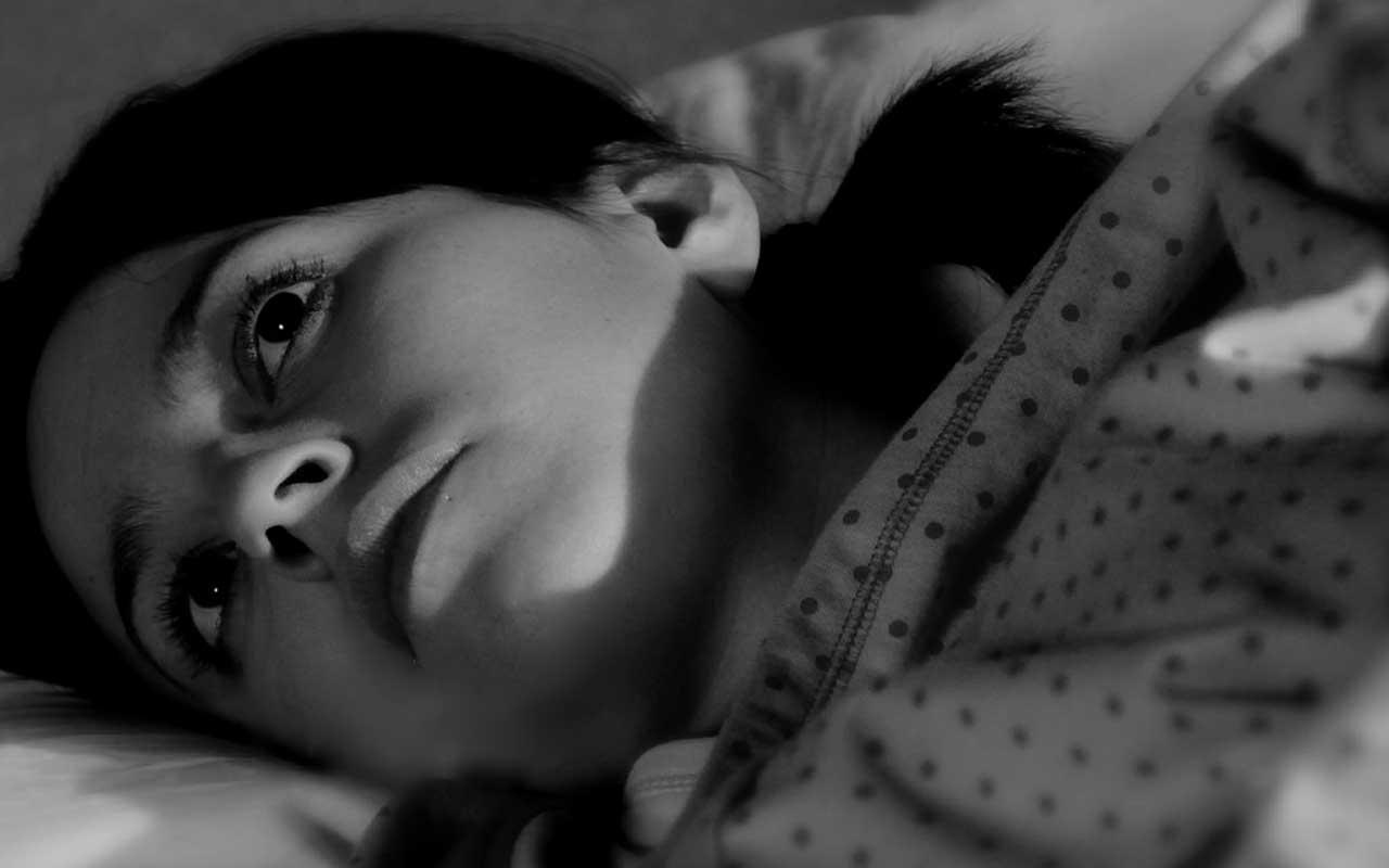 Lack of sleep, awake at night, woman, bed, light, darkness