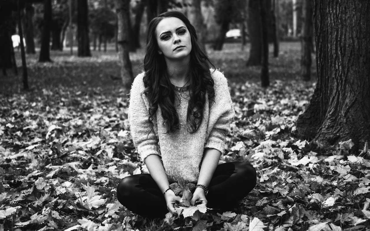 Detachment, woman, sad, story, leaf, nature, plant,