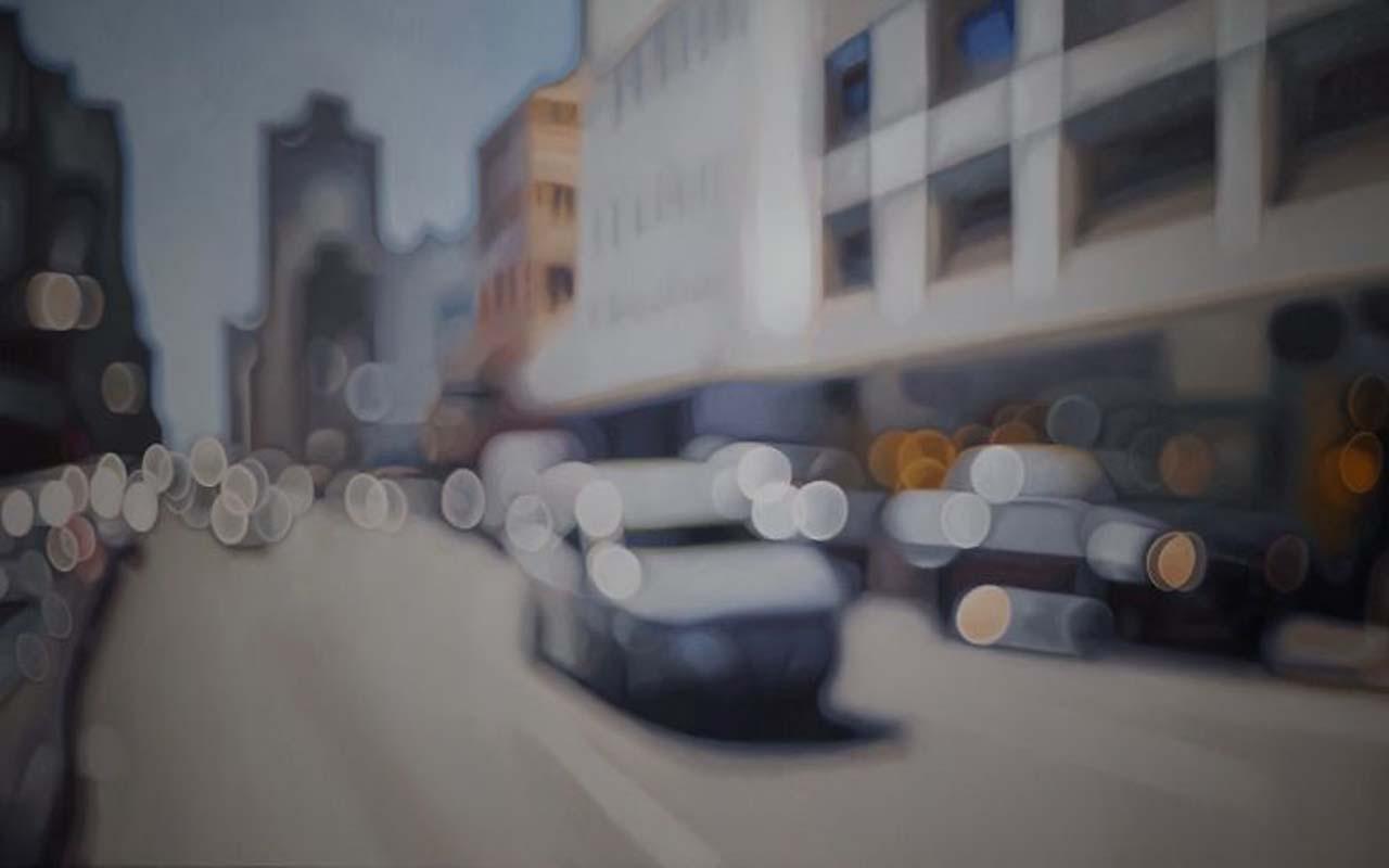 Philip Barlow, painting, street, crossing, sidewalk, pedestrian, walking, blind, eyesight, glasses