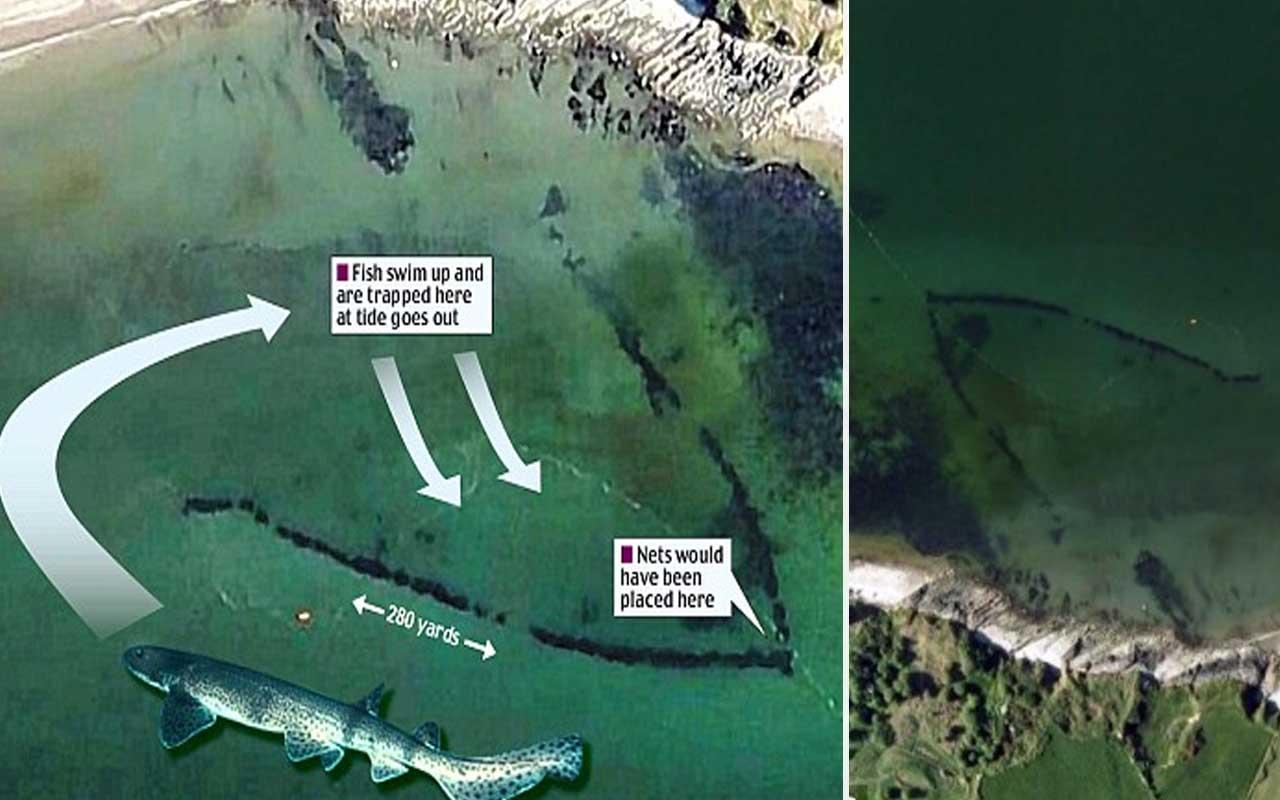 ancient fish trap, google earth, maps, sea, Britain