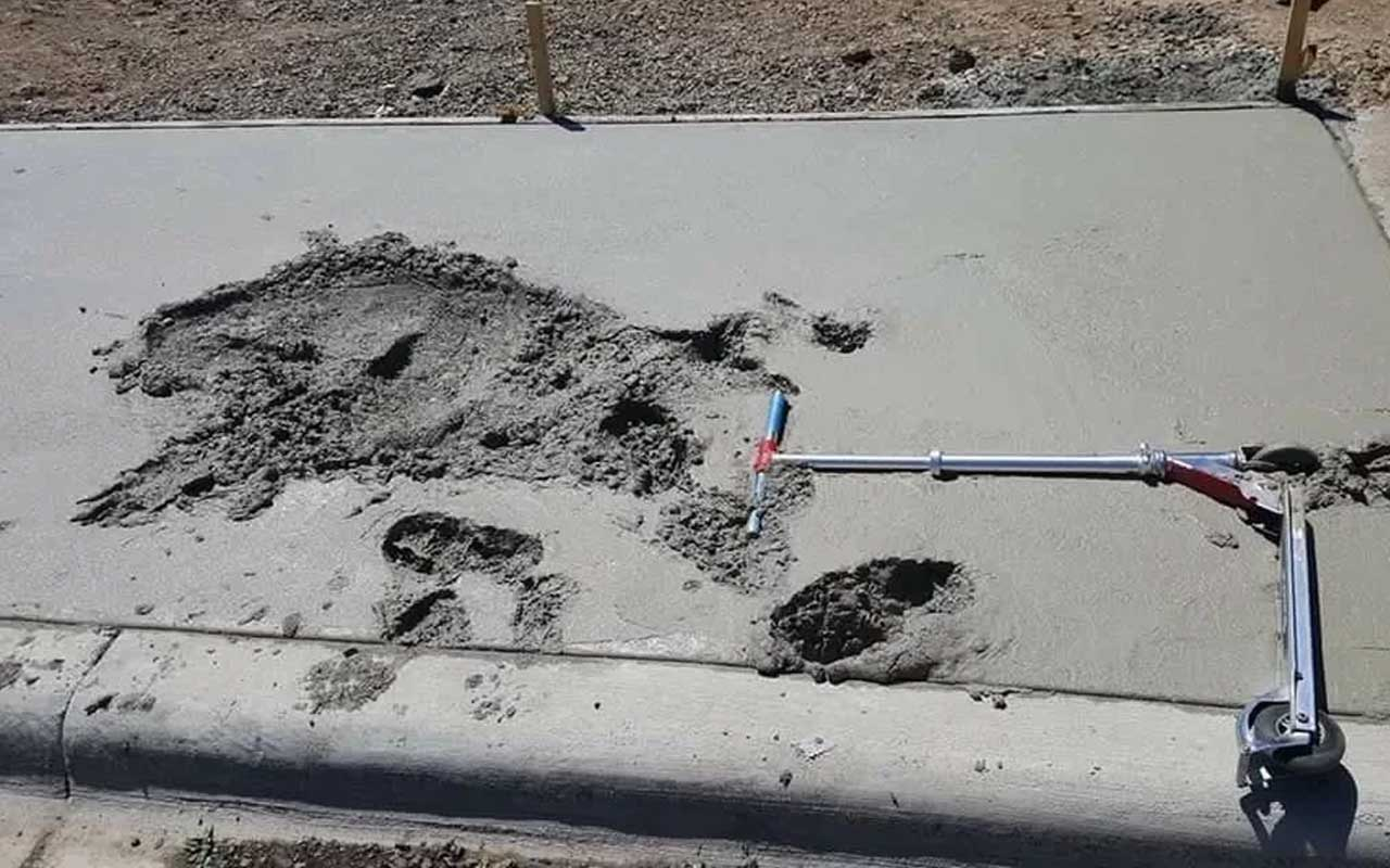 concrete, cement, scooter