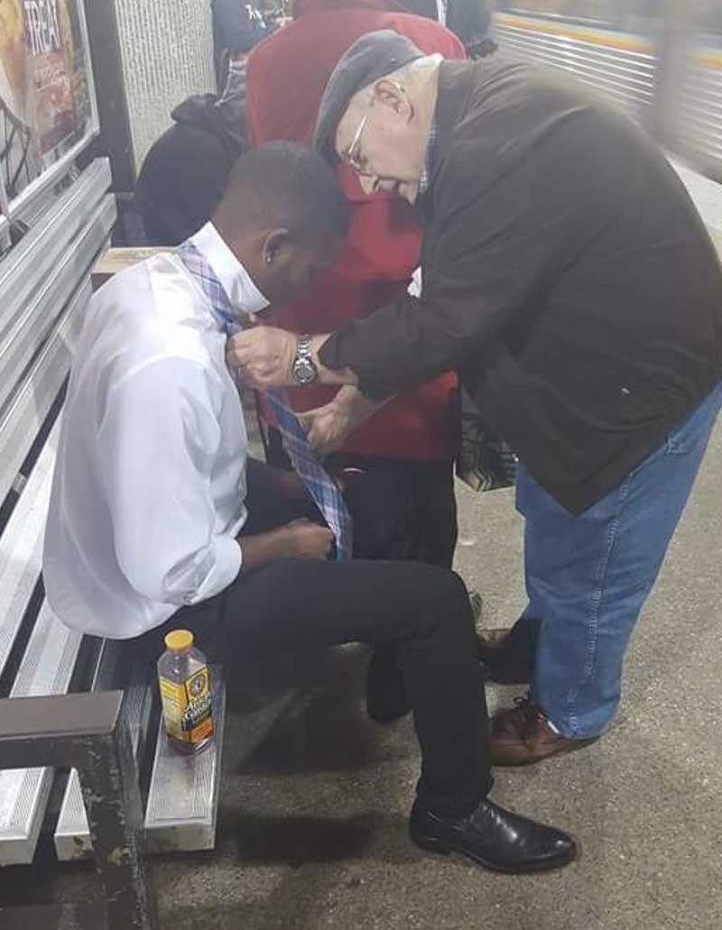 man, helping, life, subway, humans