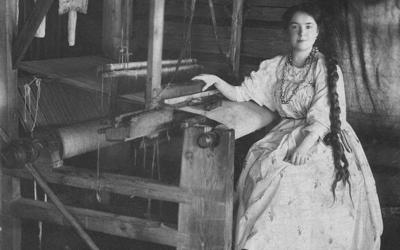 Peasant woman, weaving, Russia, life, people