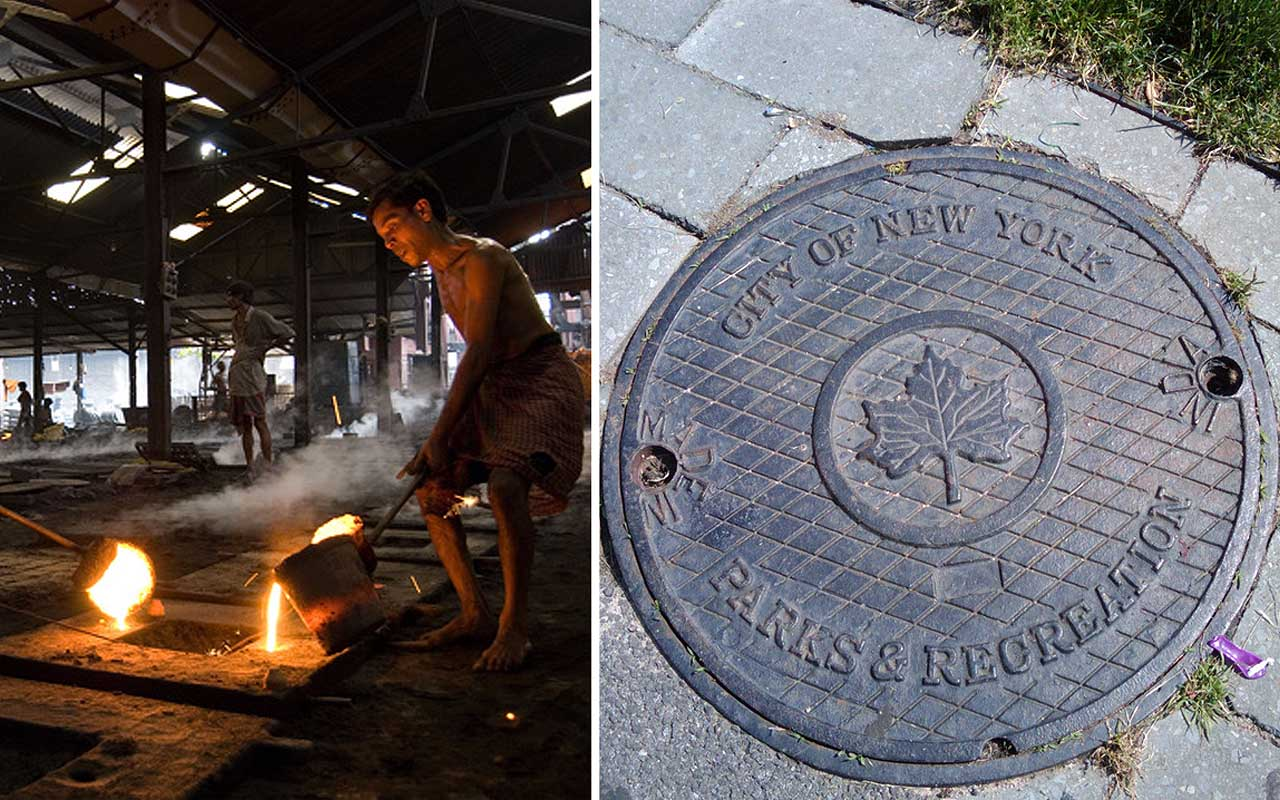 Manhole cover production, New York City, India, jobs, facts, life, people, history