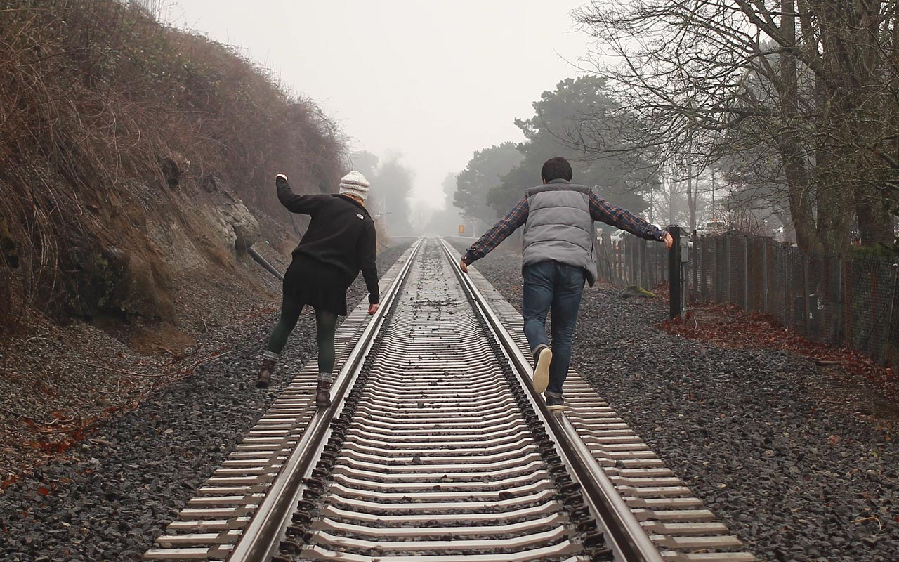 railroad, tracks, train, people, love, reading, listening, couple, brain