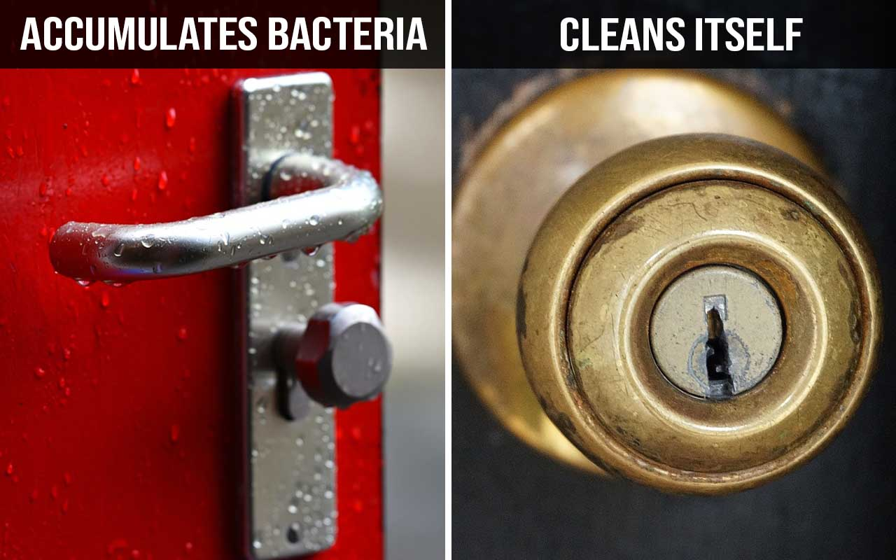 brass, door knob, disinfectant, bacteria, life, science