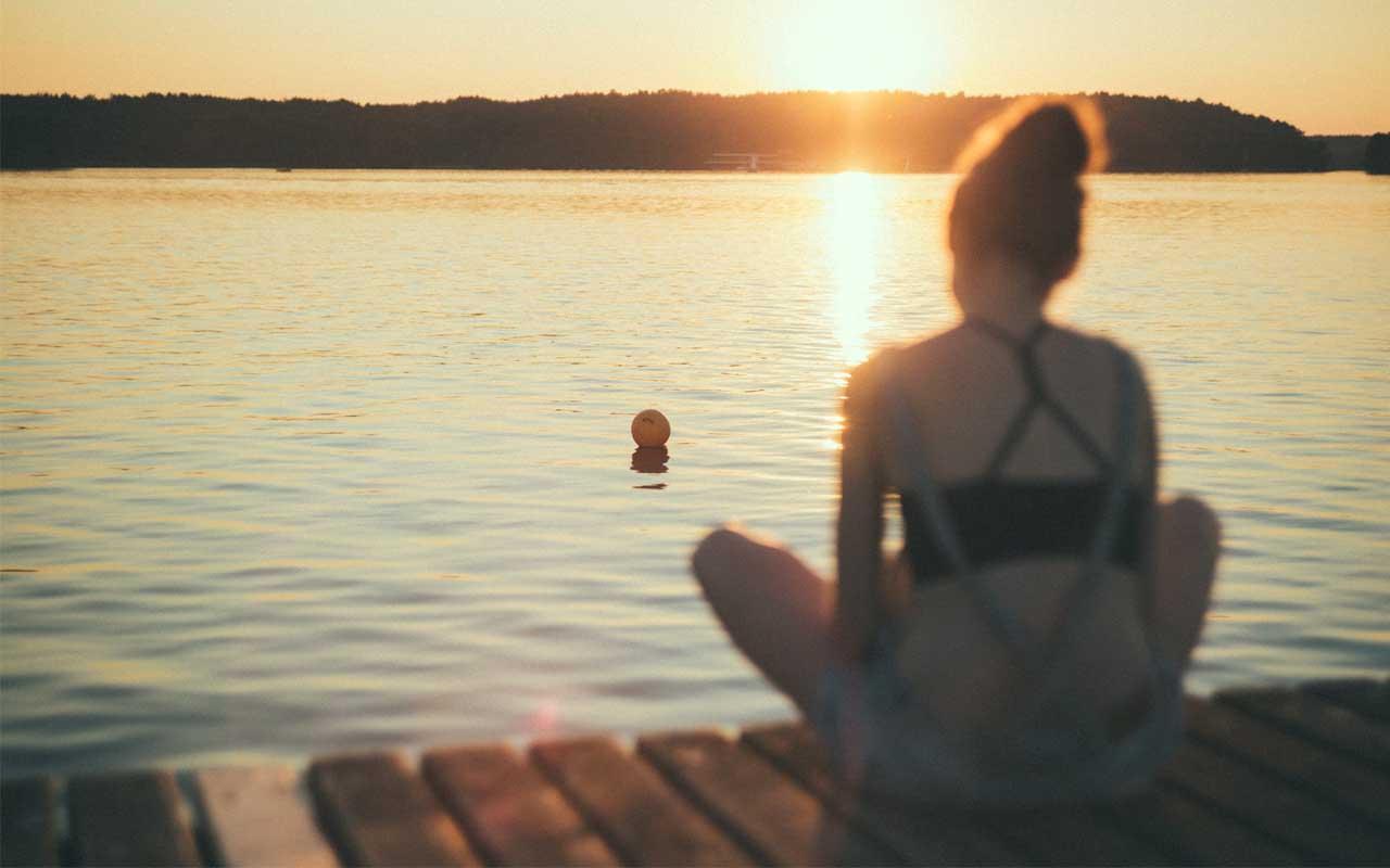 swimming, lake, ball, inflated, drifting, woman, sad, feeling