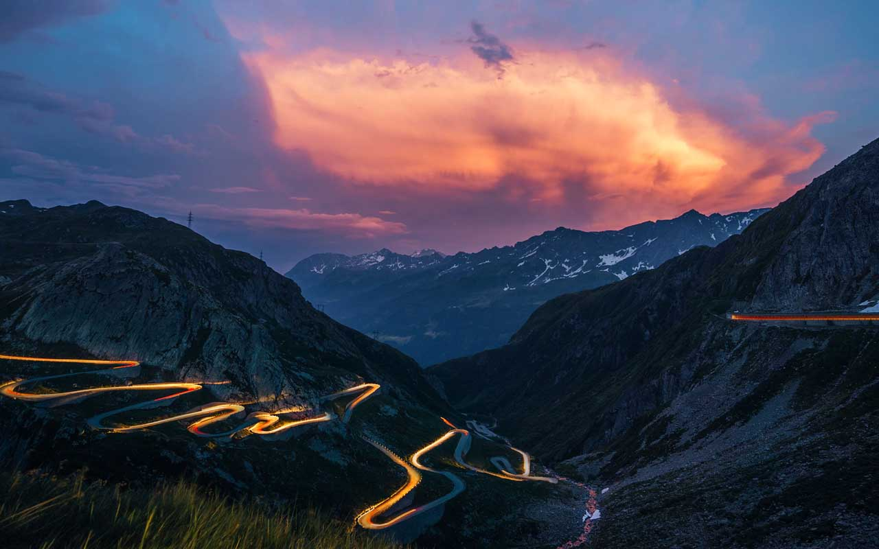 Gotthard Pass, Switzerland, travel, route, night, landscape, mountain