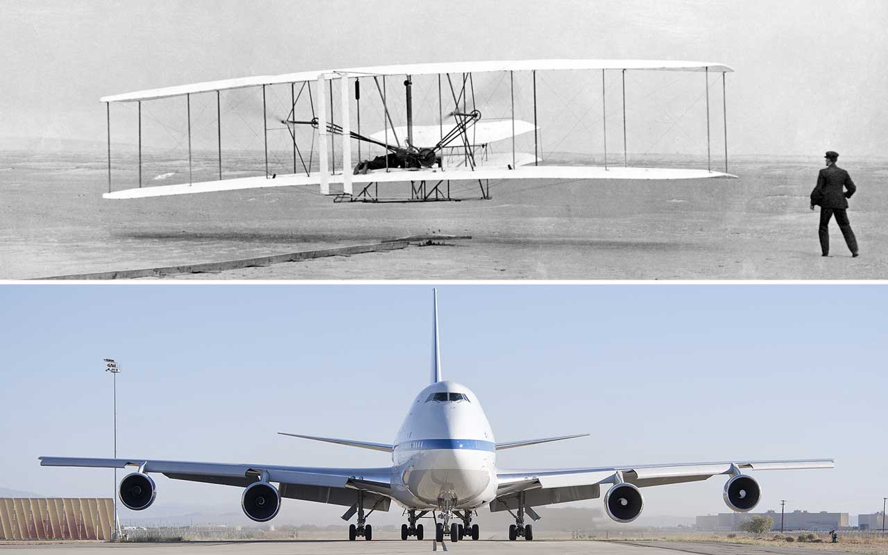 Wright brothers, first flight, facts, history, science, aviation, life, people, Boeing 747