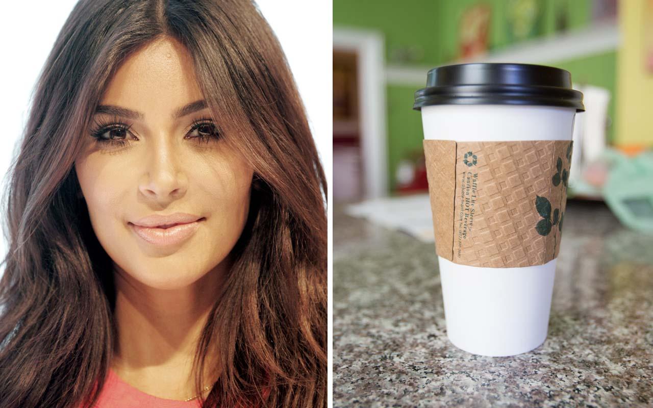 Kim Kardashian, coffee cup sleeve, facts, paper cup, cardboard, celebrities, life