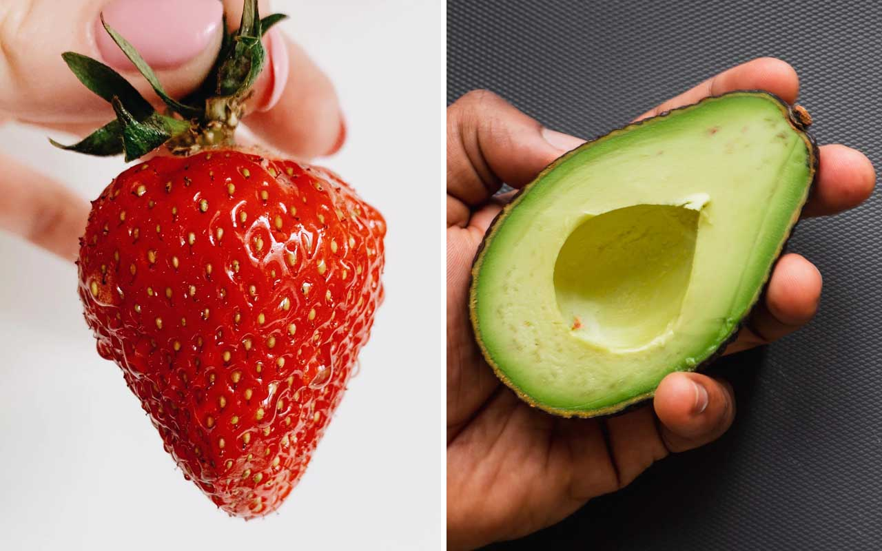 strawberry, berry, avocado, toast, nature, foods, nutrients