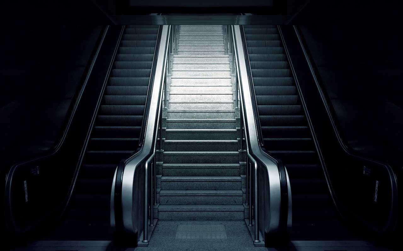 Wyoming, bank, escalator, travel, United States
