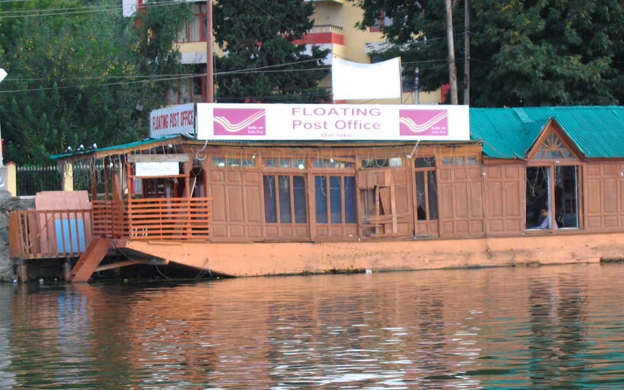 Dal Lake, Srinagar, post office, floating post office, facts
