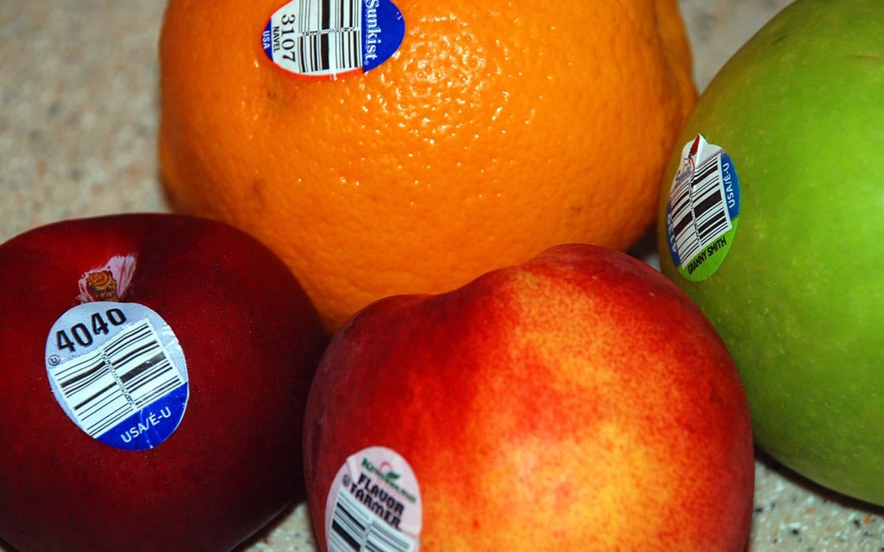 fruit, stickers, apples, oranges, bananas