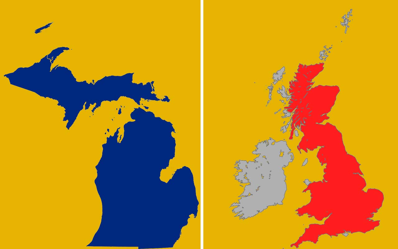 Michigan, UK, Great Britain, facts, countries, states
