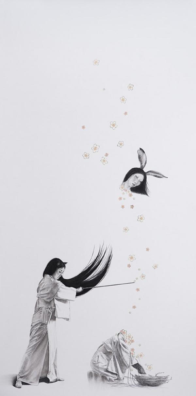 Stephanie Inagaki Rabbit Girl Samurai Drawing Metamorphosis