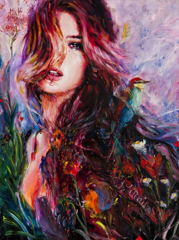 Charmaine Olivia Violet Beautiful Bizarre Magazine Painting