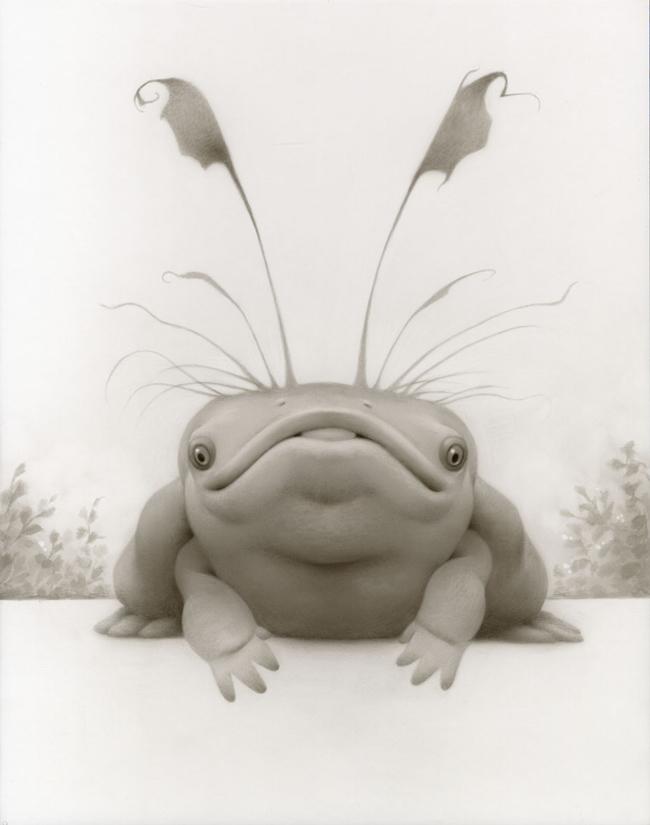 """Travis Louie, """"Pennington's Fish Frog acrylic on board 11x14"""" @ Roq La Rue Seattle"""