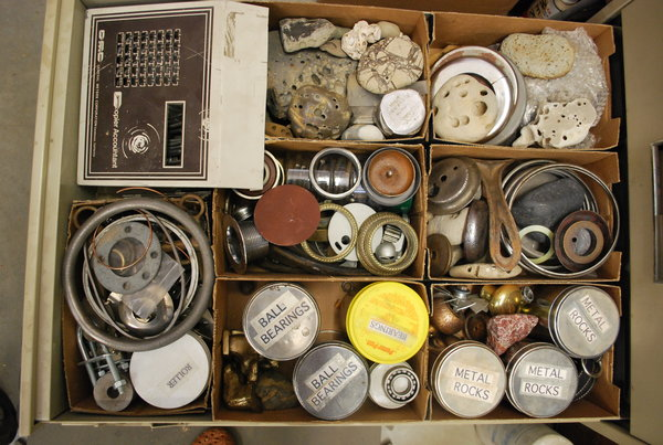 assemblage, organized supplies, art supplies, mixed media