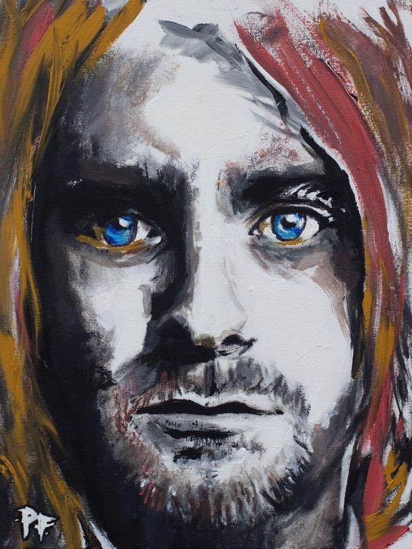 curt cobain, patrick fisher, mixed media portrait, gamut