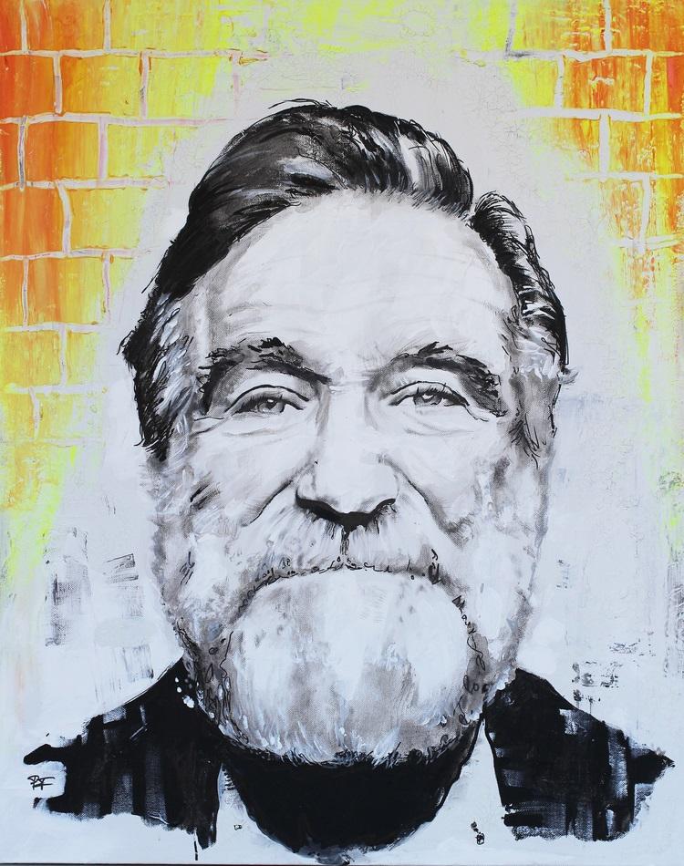robin williams, patrick fisher, mixed media portrait, gamut