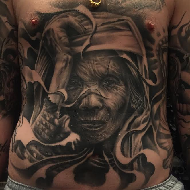 jason stieva, tattoo. tattoo art, shallow grave studios, assemblage art, gothic art, dark art, skull art