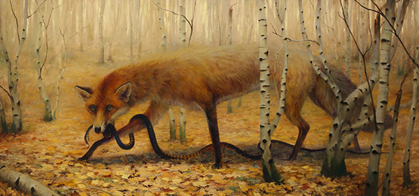 Martin Wittfooth pop surreal fox animal painting