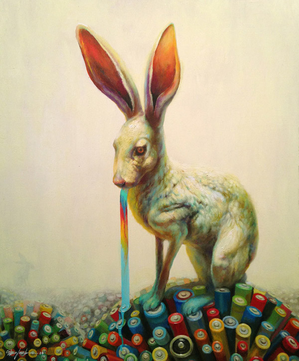 Martin Wittfooth surreal rabbit animal painting