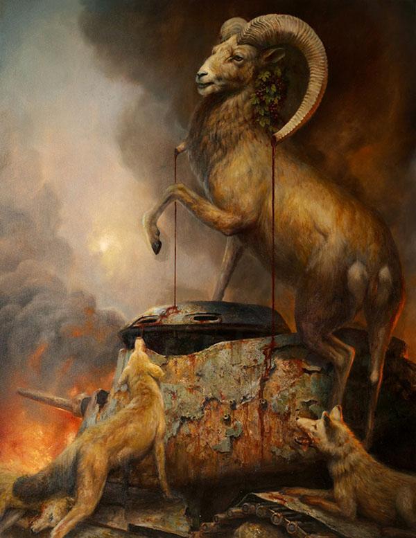 Martin Wittfooth destruction ram animal painting