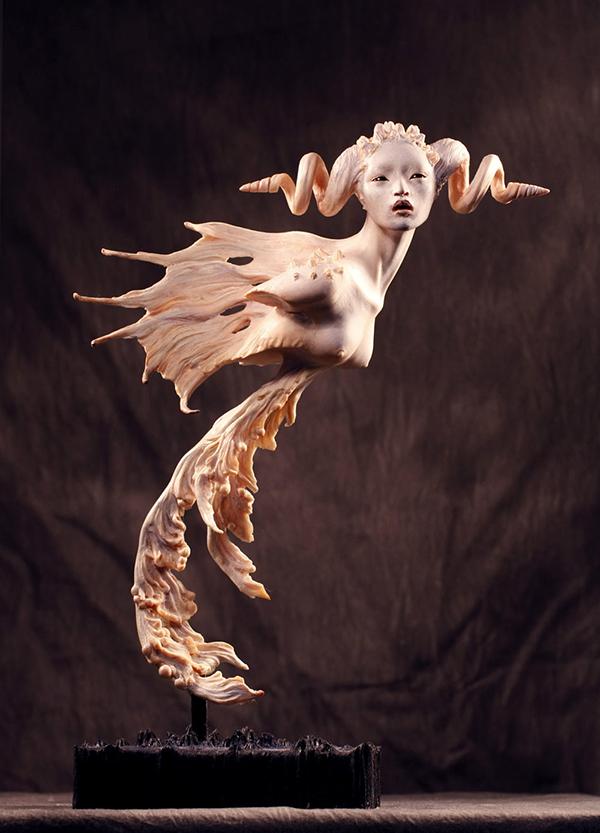 Forest Rogers surreal otherworldly horned sculpture